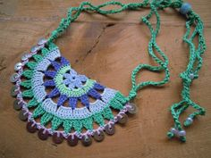 crochet necklace multicolored by PashaBodrum on Etsy, $15.00