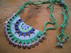 crochet necklace, multicolored