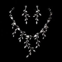 jewelry Bridal necklace set Necklace and earring set Crystal Bridal jewelry Long Bridal earrings Statement leaf necklace Crystal Leaf earrings Prom Jewelry, Wedding Jewelry Sets, Bridesmaid Jewelry, Bridal Jewellery, Wedding Set, Formal Wedding, Jewellery Box, Paparazzi Jewelry, Wedding Necklaces