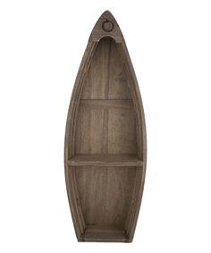 Boat Natural Wood Wall Shelf