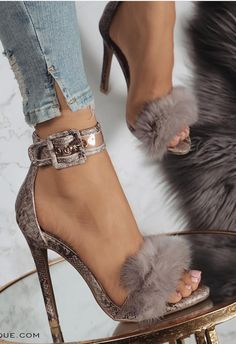 Sexy Rabbit Hair with Hollow High Heel Sandals from E.- Sexy Rabbit Hair with Hollow High Heel Sandals from Eoooh❣❣ - Gorgeous Heels, Beautiful Shoes, Pumps Heels, Stiletto Heels, Shoes Sandals, Sandals Outfit, Heeled Sandals, Fur Heels, Shoes Sneakers