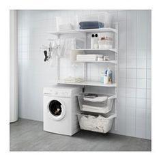 IKEA - ALGOT, Wandrail/planken/droogrek, De onderdelen van de ALGOT serie kunnen op diverse manieren worden gecombineerd en zijn daardoor eenvoudig aan te passen aan de behoefte en de ruimte.Perfect voor bij de wasmachine en de droger omdat het je veel ruimte oplevert voor het ophangen, vouwen en sorteren van de was.Je kan je was sorteren in de soepel lopende bakken. De planken zijn vochtbestendig en dus is de opbergoplossing geschikt voor gebruik in de badkamer en de wasruimte.De ...