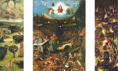 The painting shows the Garden of Eden, the Last Judgement and Hell.