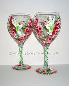 Single Glass Hand Painted Wine Glasse 1 by SharonsCustomArtwork