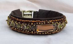 Shades of Bronze Luxury Dog Collar Hand Beaded on Silk Luxury Dog Collars, Gold Glass, Pet Products, Dog Stuff, Best Dogs, Glass Beads, Bronze, Shades, Jewels