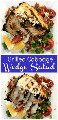 Healthy and Heavenly Grilled Cabbage Wedge Salad - Clean Eats, Fast Feets Vegetarian Grilling, Healthy Grilling Recipes, Best Vegetarian Recipes, Barbecue Recipes, Entree Recipes, Healthy Salad Recipes, Real Food Recipes, Barbecue Sauce, Healthy Meals