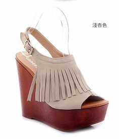 YESSTYLE: Lane172- Genuine Leather Fringed Wedge Sandals (Beige - 38) - Free International Shipping on orders over $150