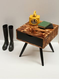 Scandinavian Burned Wood Nightstand/ Bedside Table/ Handmade/ Custom Made