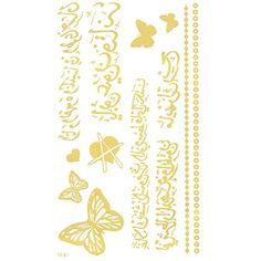 King Horse Arabic Butterfies and Heart Temporary Tattoo sticker Golden * You can get more details by clicking on the image. (This is an affiliate link) #Makeup