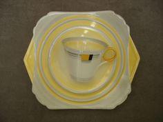 Art deco Shelley china tea trio + cake plate regent blocks porcelaine anglaise