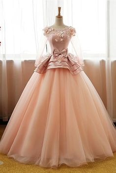 Vintage Pink Flower Long Sleeves Puffy Tulle Long Quinceanera Dress Prom Dresses UK PH428