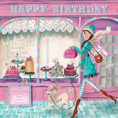 Verjaardagskaart meisje met taart (Cartita Design ©2015)
