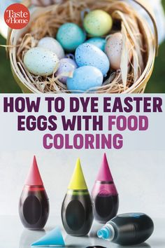 How to Dye Easter Eggs With Food Coloring Dyeing Easter eggs with food coloring couldn't be simpler! This kid-friendly activity uses items you probably have in your pantry. We'll take you through it, step-by-step. Easter Eggs Kids, Making Easter Eggs, Easter Egg Basket, Easter Egg Dye, Easter Lunch, Easter Egg Template, Easter Egg Coloring Pages, Food Coloring Egg Dye, Easter Egg Designs