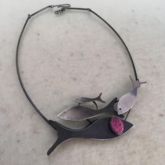 "Montserrat Lacomba ""Fish Family"" Necklace Silver and spherocobaltite. 520 x 45 x 7 mm."