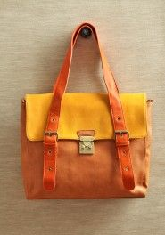 tangerine sunrise colorblocked bag