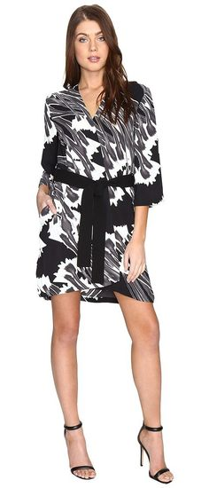 Halston Heritage Long Sleeve Printed Kimono Dress w/ Sash (Black Crocus Print) Women's Dress - Halston Heritage, Long Sleeve Printed Kimono Dress w/ Sash, CZK051935P-961, Apparel Top Dress, Dress, Top, Apparel, Clothes Clothing, Gift, - Street Fashion And Style Ideas