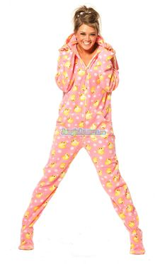 Pink Duckie - Drop Seat Hoodie - Pajamas Footie PJs Onesies One Piece Adult Pajamas - JumpinJammerz.com