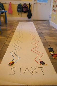 ZIG ZAG Race for fine motor control. Perfect for transportation theme! Gross Motor Activities, Gross Motor Skills, Learning Activities, Preschool Activities, Physical Activities, Time Activities, Preschool Kindergarten, Preschool Learning, Indoor Activities