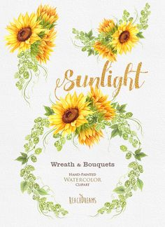 Sunflower Watercolor Wreath & Bouquets with Hop. Bohemian Boho
