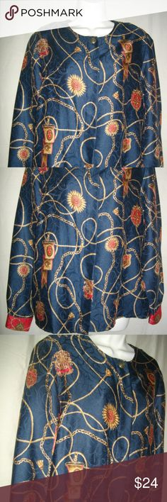 """Multicolored Talbots M Long Sleeve Navy Blue Top This long sleeve print blouse features gold swirling chain links & cords with royal emblems & medallion details against a navy blue background with watermark designs etched in & a top center button with light shoulder pads & red button closure wrists. The hidden button placket has five buttons, & it has shoulder pads for comfort. Size tag is 10 (medium). Length: 26""""; Shoulders: 16""""; Sleeves: 24""""; Chest: 20.5"""" (41"""" doubled); Waist: 21""""; Hips…"""