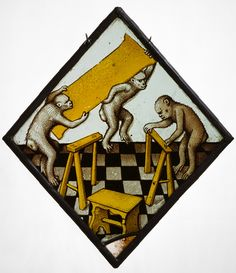 three apes building a trestle table, glass with paint and silver stain, german, 1480-1500, met museum