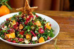 Christmas Tree Salad. Pomegranate. Pecans. Raw Chard.