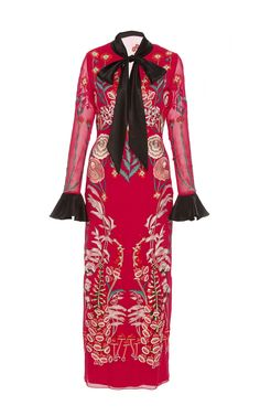 Bow Tie Red Midi Dress by Temperley London   Moda Operandi