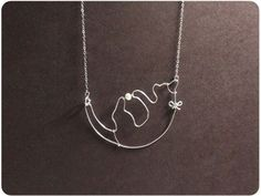 Cat Plays Ball Necklace Sterling Silver Cat Necklace by Boogiecat, $38.00