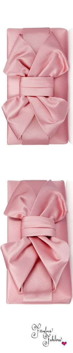 Frivolous Fabulous - Valentino Pink Silk Satin Bow Evening Clutch