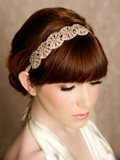 Gold Crystal Headband crystal tiara Bridal Halo by GildedShadows, $96.00