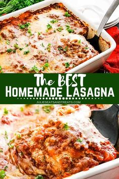 The BEST Homemade Lasagna recipe! is part of pizza - This Homemade Lasagna Recipe is quick and easy with an amazing flavor It's full of ground beef, onion, spices, cottage cheese and Mozzarella cheese! Classic Lasagna Recipe Easy, Easy Lasagna Recipe With Ricotta, Homemade Lasagna Recipes, Lasagne Recipes, Beef Recipes, Healthy Recipes, Lasagna With Ricotta Cheese, Lasagna Recipe Beef, Pasta Cheese