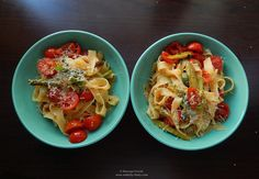 Asparagus and cherry tomato fettuccine.