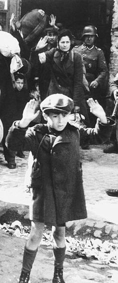 Beautiful child, terrorized while forced to leave a Jewish Ghetto, during WWII Jewish History, World History, Warsaw Ghetto Uprising, Jewish Ghetto, War Photography, Beautiful Children, World War Two, Wwii, People