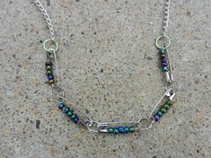 MultiColored Beaded Safety Pin Necklace by Susanbrownjewelry, $20.00