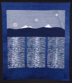 Moonrise Three Sisters Katazome Quilt in Indigo.  Katazome is the craft of Japanese stencil dyeing. Traditionally used to make both indigo blue and white cotton for summer kimonos and country bedding, as well as colored silks, it is now almost a lost art in Japan.