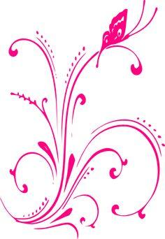 Butterfly Outline Clip Art | Pink Butterfly Scroll clip art