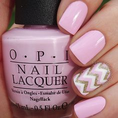 Pink and gold chevron nails
