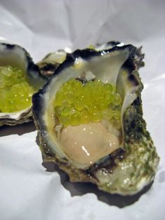 Oysters with Finger Lime Caviar via morselsandmusings Seafood Dishes, Fish And Seafood, Seafood Recipes, Rock Oyster, Caviar Lime, Oyster Recipes, Food Photo, Food Hacks, Love Food