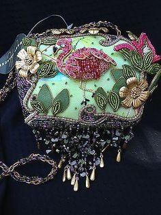 Mary Frances Beaded Flamingo Purse Handbag Tropical Collectors