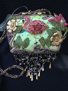 Mary Frances Beaded Flamingo Purse Handbag Tropical Collectors