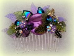 Gorgeous Purple Cluster Floral Silver Plated bridal Comb | novemberskydesigns - Accessories on ArtFire