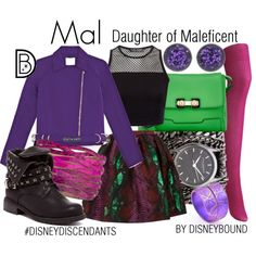 #disney #disneydiscendants Mal: Daughter of Maleficent by leslieakay on Polyvore featuring Opening Ceremony, House of Holland, Uniqlo, MARC BY MARC JACOBS, Sara Designs, Uno6eight, disney, disneybound, disneycharacter and disneydescendants