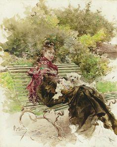 """Giovanni Boldini (Italian, 1842 - 1931), """"In the Park"""""""