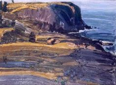 """Afternoon Whitehead,"" George Wesley Bellows, Oil on panel, 11 x 15 American Realism, American Artists, Seascape Paintings, Landscape Paintings, Ashcan School, Monhegan Island, Urban Life, Cool Landscapes, Klimt"