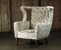 Alfonso Mid Century Style Wing Chair in Animal Print Fabric