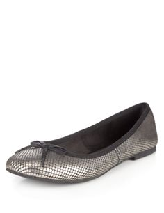 M&S Collection Leather Bow Spotted Pumps