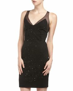 Beaded V-Neck Dress, Black by Alexia Admor at Last Call by Neiman Marcus.