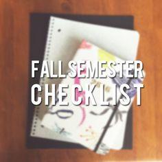 Fall Semester Checklist