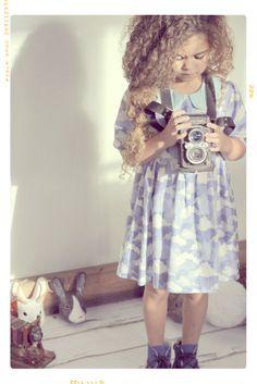 The Cloud and Sky Girls Peter Pan Collar Dress by Fleur + Dot #spring #kids #fleuranddot #fashion