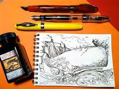 Sketches with Noodler's Ahab Flex Pens